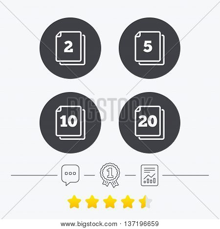In pack sheets icons. Quantity per package symbols. 2, 5, 10 and 20 paper units in the pack signs. Chat, award medal and report linear icons. Star vote ranking. Vector