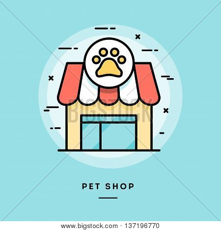 Pet shop flat design thin line banner usage for e-mail newsletters web banners headers blog posts print and more
