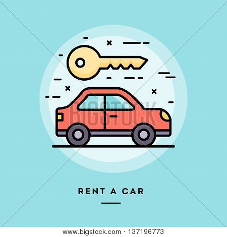 Rent a car flat design thin line banner usage for e-mail newsletters web banners headers blog posts print and more