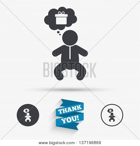 Baby infant think about gift box sign icon. Toddler boy in pajamas or crawlers body symbol. Flat icons. Buttons with icons. Thank you ribbon. Vector
