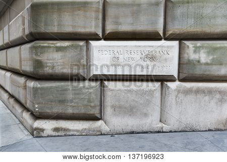 New York, USA - June 18, 2016: Federal Reserve Bank of New York sign and building exterior
