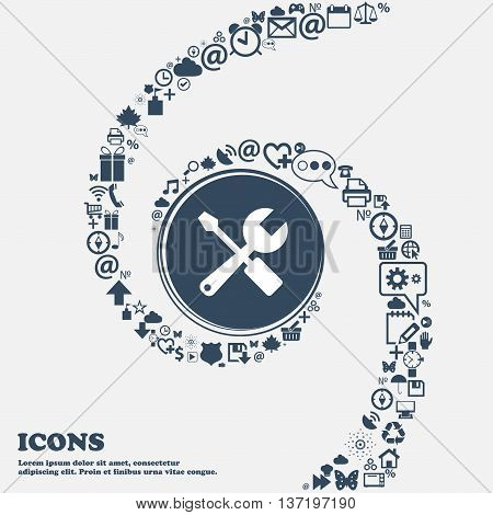 Wrench And Screwdriver Icon In The Center. Around The Many Beautiful Symbols Twisted In A Spiral. Yo