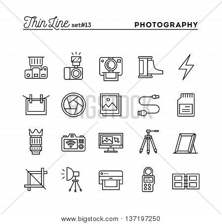 Photography equipment post-production printing and more thin line icons set vector illustration