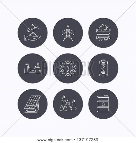 Solar collector energy, battery and oil barrel icons. Minerals, electricity station and factory linear signs. Industries, save nature icons. Flat icons in circle buttons on white background. Vector