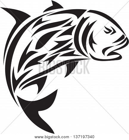 Tribal art style illustration of a giant trevally Caranx ignobilis also known as giant kingfish lowly trevally barrier trevally or ulua a species of large marine fish in the jack family Carangidae jumping viewed from the side set on isolated white backgro
