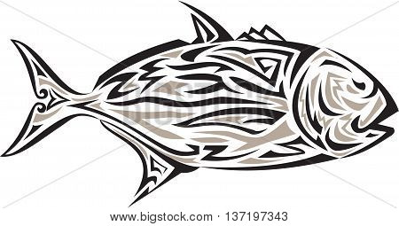 Tribal art style illustration of a giant trevally Caranx ignobilis also known as giant kingfish lowly trevally barrier trevally or ulua a species of large marine fish in the jack family Carangidae viewed from the side set on isolated white background.