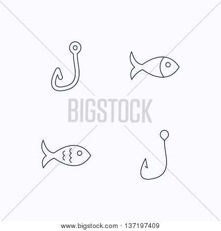 Fishing hook and fish icons. Fish linear sign. Flat linear icons on white background. Vector
