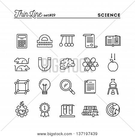 Science experiments laboratory studies and more thin line icons set vector illustration