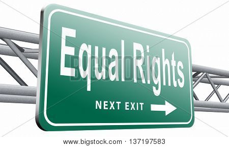 Equal rights no discrimination and same opportunities for all women man disabled black and white solidarity, 3D illustration isolated on white.