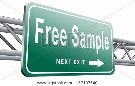 Free product sample offer or gratis download webshop button or web shop, road sign billboard, 3D illustration isolated on white.