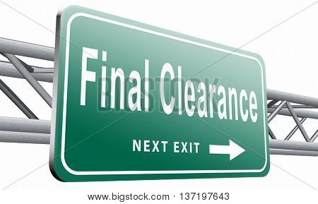 final clearance and big stock sale road sign for webshop sales or web shop billboard, 3D illustration isolated on white.
