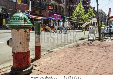 New York, USA - June 18, 2016: Italian flag colored fire hydrants in Little Italy in New York City