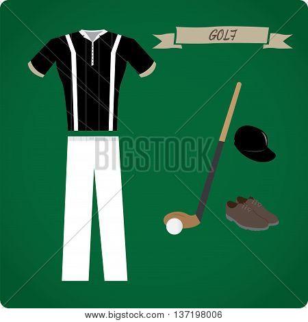 Golf objects Sport uniform Vector illustration, golf uniform