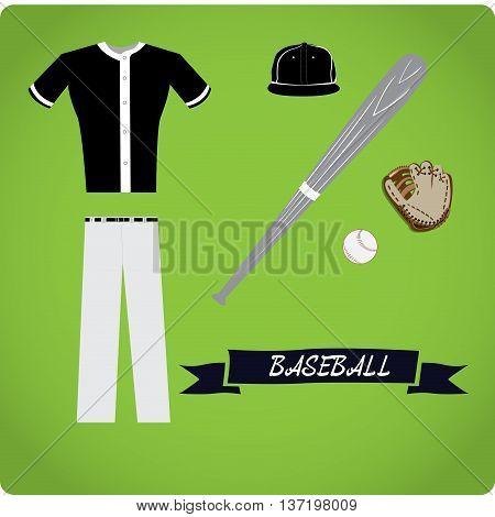 Baseball objects Sport uniform Vector illustration, baseball uniform