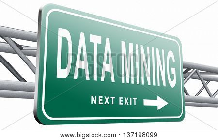 data mining analysis and search big data for specific information and statistics, 3D illustration isolated on white.