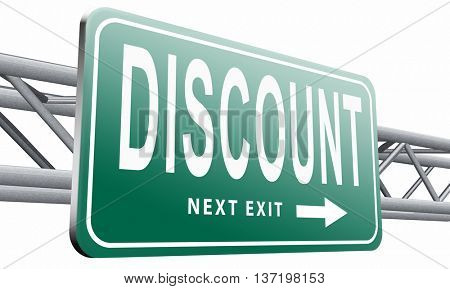 discount lowest price special offer bargain and sales discount, road sign billboard, 3D illustration isolated on white.
