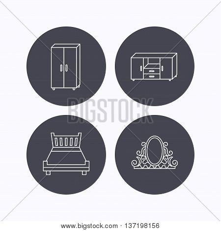 Double bed, vintage mirror and cupboard icons. Chest of drawers linear sign. Flat icons in circle buttons on white background. Vector