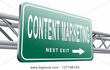 content marketing, a market strategy for advertising and product placement, 3D illustration isolated on white.