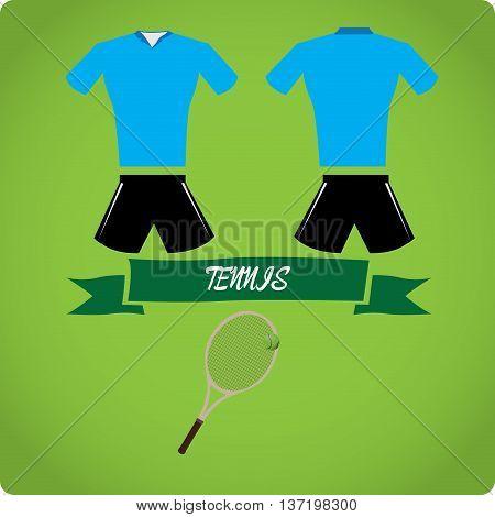 Tennis objects Sport uniform Vector illustration, tennis racket