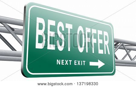 best offer, lowest price and best value for the money. Web shop or online promotion for internet webshop, road sign billboard. 3D illustration, isolated on white