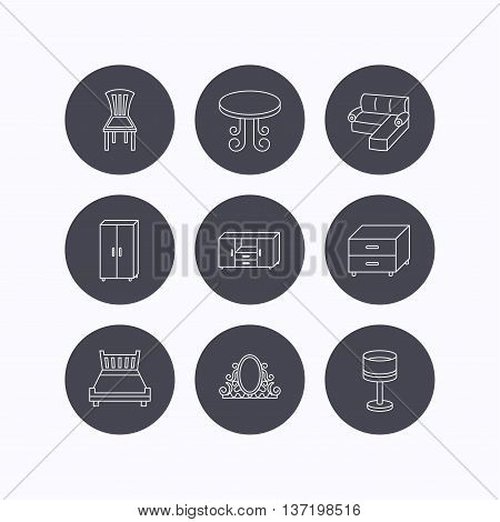 Corner sofa, table and cupboard icons. Chair, lamp and nightstand linear signs. Vintage mirror, double bed and chest of drawers icons. Flat icons in circle buttons on white background. Vector