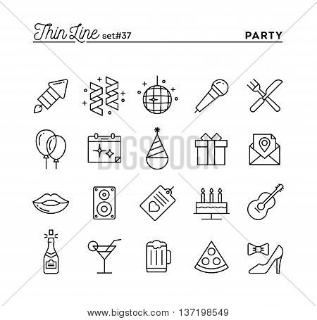 Party celebration fireworks confetti and more thin line icons set vector illustration