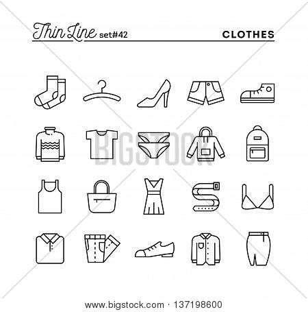 Clothing thin line icons set vector illustration