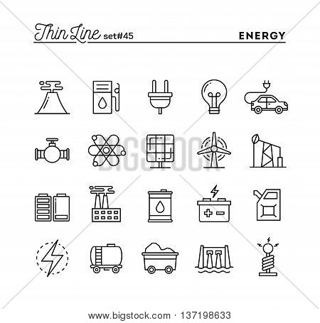 Power energy electricity production and more thin line icons set vector illustration