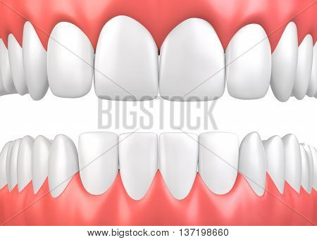 3D Illustration Teeth And Gum Model.