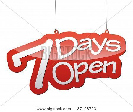 This is red vector background seven days open