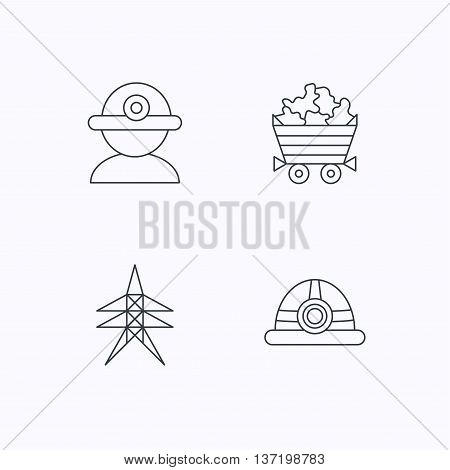 Worker, minerals and engineering helm icons. Electricity station linear sign. Flat linear icons on white background. Vector