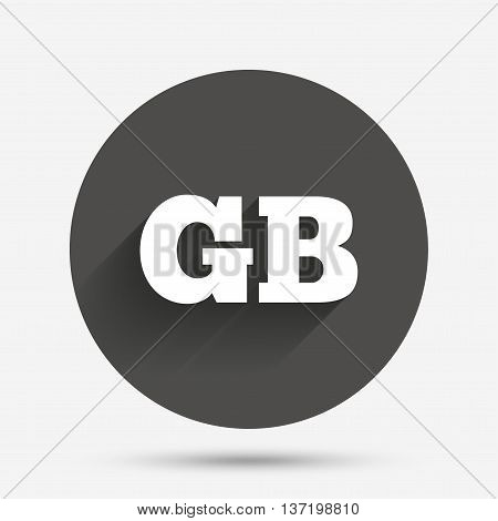 British language sign icon. GB Great Britain translation symbol. Circle flat button with shadow. Vector