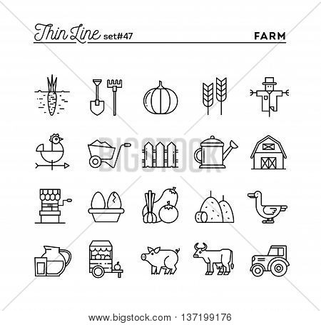 Farm animals land food production and more thin line icons set vector illustration