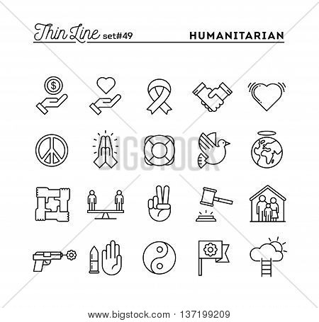 Humanitarian peace justice human rights and more thin line icons set vector illustration