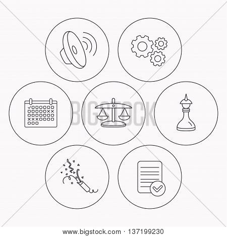 Scales of justice, sound and strategy icons. Slapstick linear sign. Check file, calendar and cogwheel icons. Vector