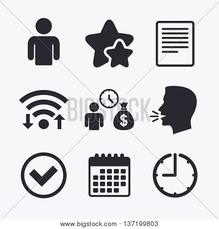 Bank loans icons. Cash money bag symbol. Apply for credit sign. Check or Tick mark. Wifi internet, favorite stars, calendar and clock. Talking head. Vector