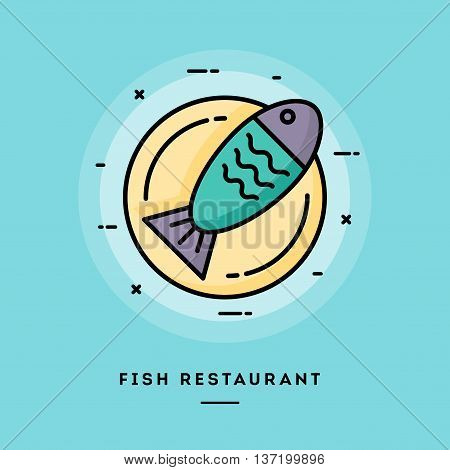 Fish restaurant flat design thin line banner usage for e-mail newsletters web banners headers blog posts print and more