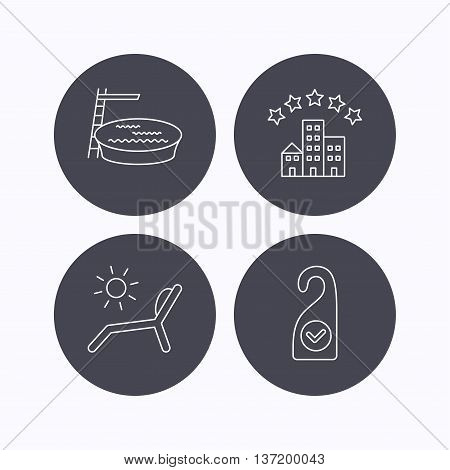Hotel, swimming pool and beach deck chair icons. Clean room linear sign. Flat icons in circle buttons on white background. Vector