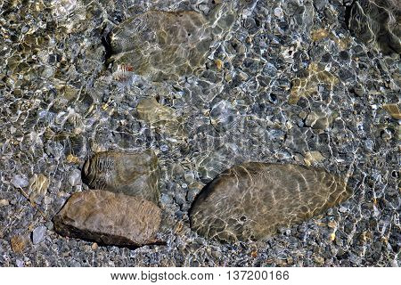 clear water in a shallow area of a riverbed