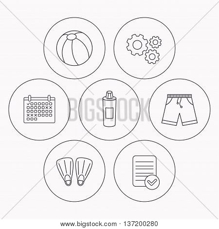 Flippers, swimming ball and trunks icons. Shampoo bottle linear sign. Check file, calendar and cogwheel icons. Vector