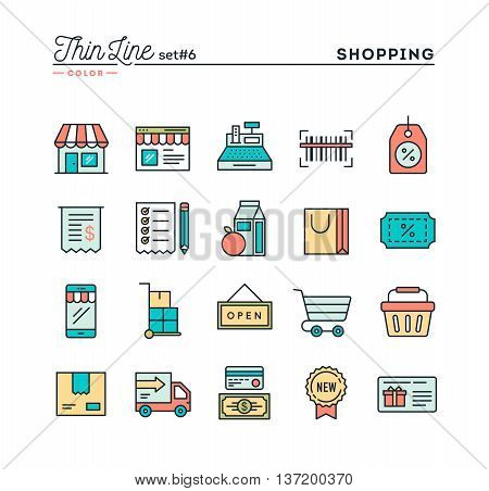Shopping retail delivery gift card discount and more thin line color icons set vector illustration