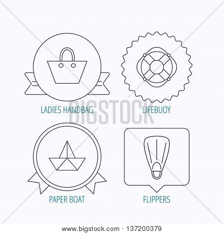 Paper boat, flippers and lifebuoy icons. Women handbag linear sign. Award medal, star label and speech bubble designs. Vector