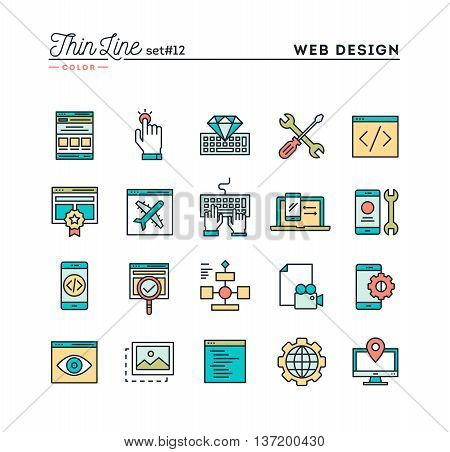 Web design coding responsive app development and more thin line color icons set vector illustration