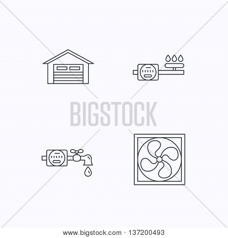 Ventilation, garage and water counter icons. Gas counter linear sign. Flat linear icons on white background. Vector