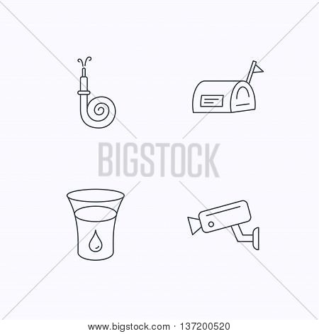 Mailbox, video monitoring and fire hose icons. Glass of water linear sign. Flat linear icons on white background. Vector