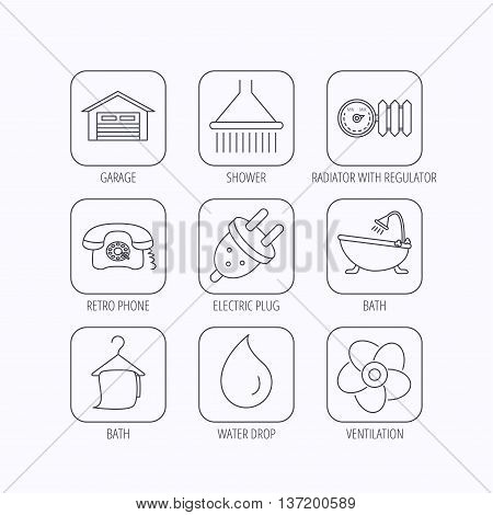 Ventilation, heat radiator and electric plug. Retro phone, shower and garage linear signs. Water drop, bath towel icons. Flat linear icons in squares on white background. Vector