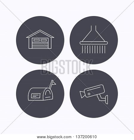 Mailbox, video monitoring and garage icons. Shower linear sign. Flat icons in circle buttons on white background. Vector