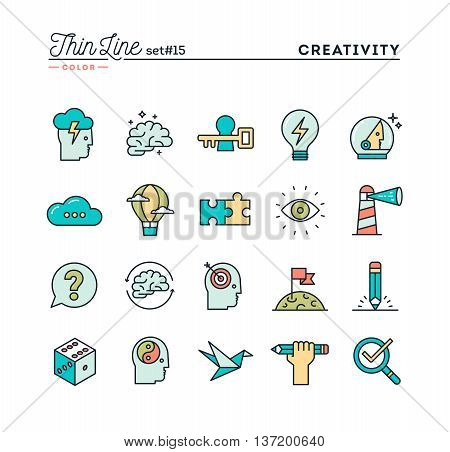 Creativity imagination problem solving mind power and more thin line color icons set vector illustration