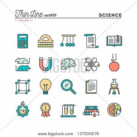 Science experiments laboratory studies and more thin line color icons set vector illustration