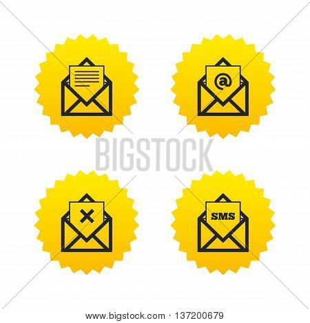 Mail envelope icons. Message document symbols. Post office letter signs. Delete mail and SMS message. Yellow stars labels with flat icons. Vector